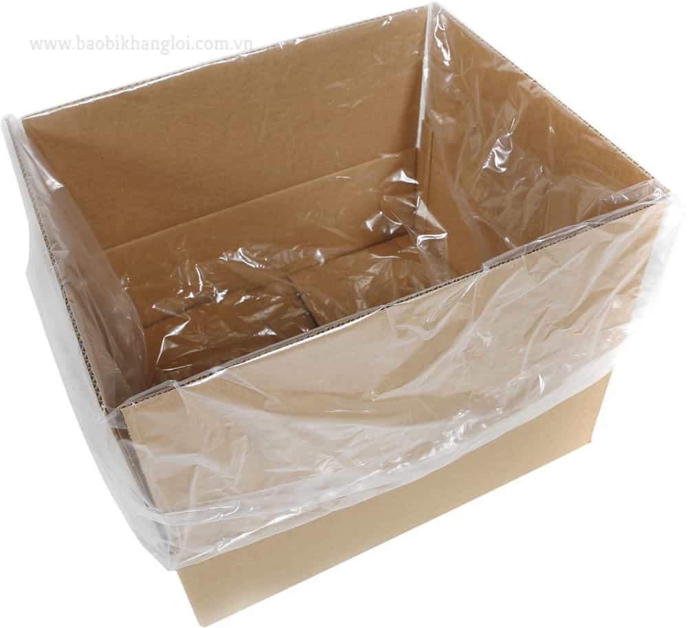 túi nilon dạng hộp khi lót trong thùng giấy thường được làm dư chiều cao để có thể buộc túm